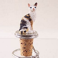 Tortoise & White Cornish Rex Bottle Stopper