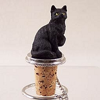 Black Shorthaired Tabby Cat Bottle Stopper