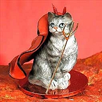 Silver Shorthaired Tabby Cat Devilish Pet Figurine