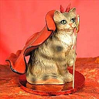 Brown Shorthaired Tabby Cat Devilish Pet Figurine