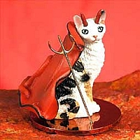 Tortoise & White Cornish Rex Devilish Pet Figurine