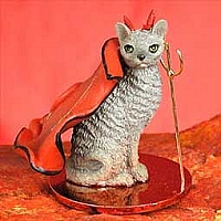 Blue Cornish Rex Devilish Pet Figurine