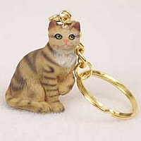 Brown Shorthaired Tabby Cat Key Chain