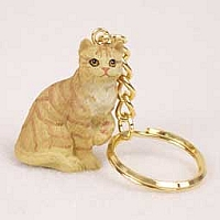 Red Shorthaired Tabby Cat Key Chain