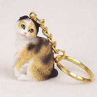 Tortoise & White Scottish Fold Key Chain