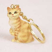 Red Tabby Manx Key Chain