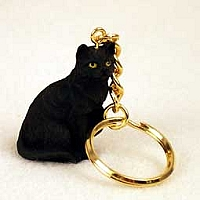 Black Shorthaired Tabby Cat Key Chain
