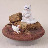 White Persian Cat Candle Topper Tiny One