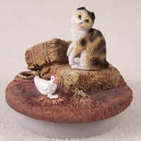 Tortoise & White Scottish Fold Cat Candle Topper Tiny One