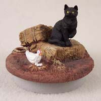 Black Shorthaired Tabby Cat Candle Topper Tiny One