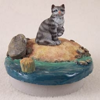 Silver Shorthaired Tabby Cat Candle Topper Tiny One