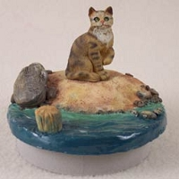 Brown Shorthaired Tabby Cat Candle Topper Tiny One