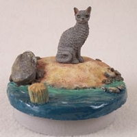 Blue Cornish Rex Cat Candle Topper Tiny One