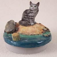 Silver Tabby Maine Coon Cat Candle Topper Tiny One