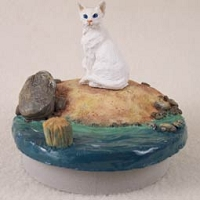 White Oriental Shorthaired Cat Candle Topper Tiny One