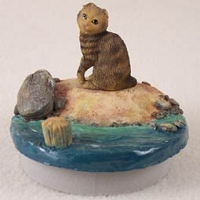Brown Tabby Scottish Fold Cat Candle Topper Tiny One