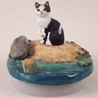 Black & White Manx Candle Topper Tiny One