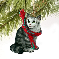 Silver Tabby Maine Coon Cat Original Ornament