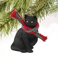 Black Shorthaired Tabby Cat Original Ornament