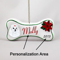 Poodle White Bone Ornament (Personalize-It-Yourself)