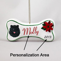 Pomeranian Black Bone Ornament (Personalize-It-Yourself)