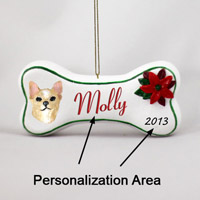 Chihuahua Tan & White Bone Ornament (Personalize-It-Yourself)