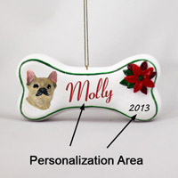 Chihuahua Brindle & White Bone Ornament (Personalize-It-Yourself)