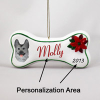 Silver & German Shepherd Black Bone Ornament (Personalize-It-Yourself)