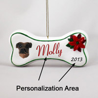 Boxer Tawny Uncropped Bone Ornament (Personalize-It-Yourself)