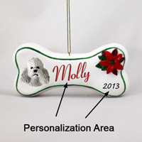 Poodle Gray w/Sport Cut Bone Ornament (Personalize-It-Yourself)