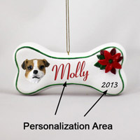 Jack Russell Terrier Brown & White w/Smooth Coat Bone Ornament (Personalize-It-Yourself)