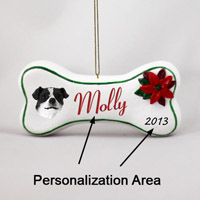 Jack Russell Terrier Black & White w/Smooth Coat Bone Ornament (Personalize-It-Yourself)
