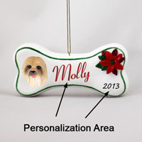 Lhasa Apso Brown Bone Ornament (Personalize-It-Yourself)