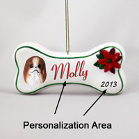 Japanese Chin Red & White Bone Ornament (Personalize-It-Yourself)