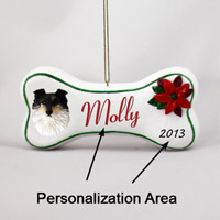 Sheltie Tricolor Bone Ornament (Personalize-It-Yourself)