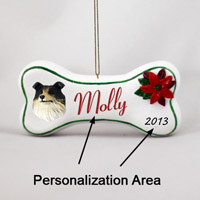 Collie Tricolor Bone Ornament (Personalize-It-Yourself)