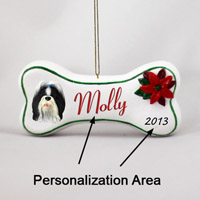 Shih Tzu Black & White Bone Ornament (Personalize-It-Yourself)