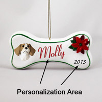 Brittany Brown & White Spaniel Bone Ornament (Personalize-It-Yourself)