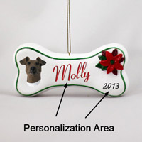 Fox Terrier Brown & White Bone Ornament (Personalize-It-Yourself)
