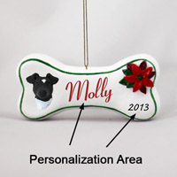 Fox Terrier Black & White Bone Ornament (Personalize-It-Yourself)