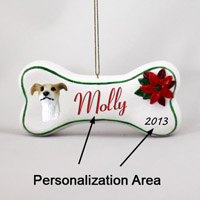 Greyhound Tan & White Bone Ornament (Personalize-It-Yourself)