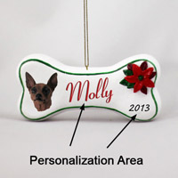 Miniature Pinscher Red & Brown Bone Ornament (Personalize-It-Yourself)