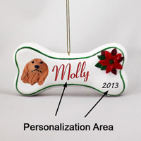 Dachshund Longhaired Red Bone Ornament (Personalize-It-Yourself)
