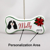 Black & White Cavalier King Charles Bone Ornament (Personalize-It-Yourself)