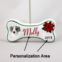 Whippet Gray & WhiteBone Ornament (Personalize-It-Yourself)