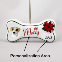 Whippet Tan & White Bone Ornament (Personalize-It-Yourself)