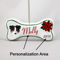 Australian Shepherd Tricolor Bone Ornament (Personalize-It-Yourself)