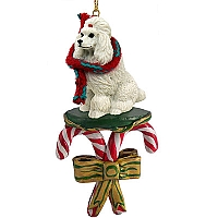 Poodle White Candy Cane Ornament