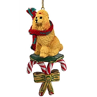 Poodle Apricot Candy Cane Ornament