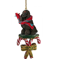 Poodle Chocolate Candy Cane Ornament